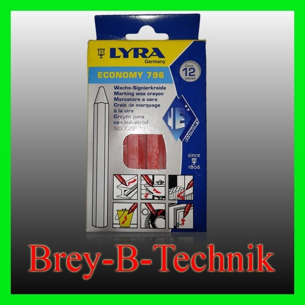 LYRA 12St. rot Signierkreide Markierungskreide Wachskreide Ölkreide Fettkreide