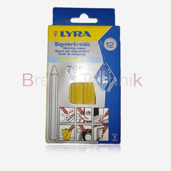 LYRA 12St. gelb Signierkreide Markierungskreide Wachskreide Ölkreide Fettkreide