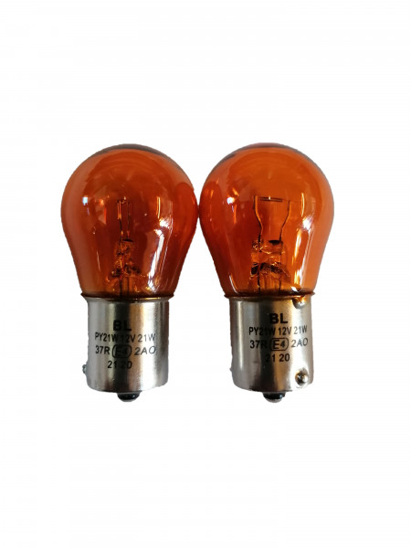 2STK. Glühlampen orange 12V 21W BAU15s