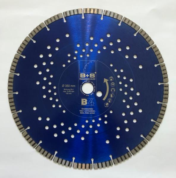 B+S Profi Diamanttrennscheibe 350 x 25,4 mm Beton Stein Made in Germany