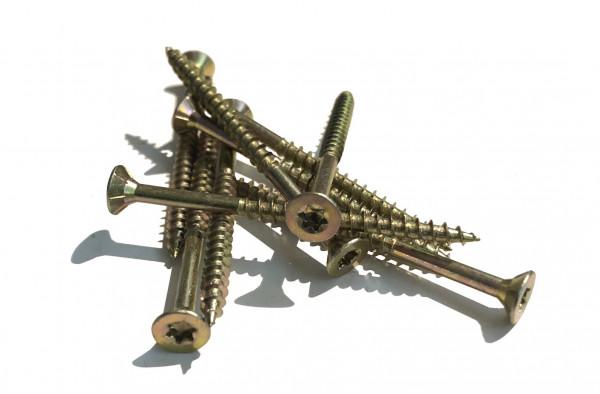100 Stk. 6 x 120 JD-79 Spanpl.-Schrauben mit I-Stern, Senkkopf, Teilgewinde und Frsrippen unter dem Kopf I-Stern Gre 30